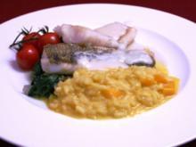 Gebratenes Zanderfilet an Blattspinat mit Mango-Risotto - Rezept