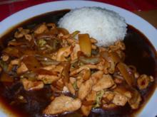 Hühnerfleisch mit Zwiebeln in Hoisin Sauce - Rezept