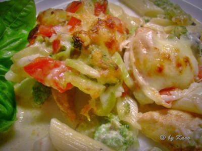 Geflügel: Gebratener  Broccoli mit Hähnchenfilet auf Rigatoni - Rezept