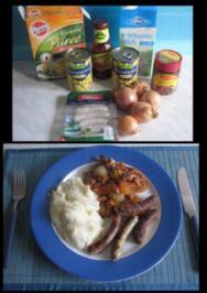 Olli´s Kartoffelpü mit Bratwurst dazu eine Zwiebel Pilz BBQ Soße - Rezept