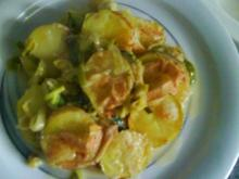 Kartoffeln im Lauchbett mit Munsterkäse und Riesling - Rezept
