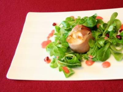 Feigen im Speckmantel mit Feldsalat an Himbeervinaigrette - Rezept