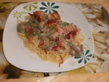 Spaghetti mit Pilz-Rahm - Rezept