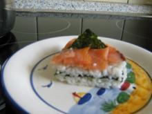Vorspeise - kleine Sushi-Torte mit Räucherlachs (15 cm Durchmesser) - Rezept