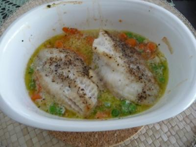 Fisch : Rotbarschfilet auf Gemüse - Rezept