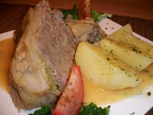 Kohlpudding nach Omas Rezept, mit Salzkartoffeln und Soße...... - Rezept - Bild Nr. 5