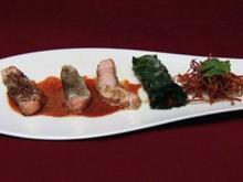 Dreierlei vom Lachs mit Wirsingpäckchen und frittierten Karotten (Anja Kruse) - Rezept
