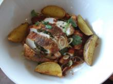 "Hähnchen ""Cajun"" auf Gemüsespaghetti mit Garnelenbolognese - Rezept"