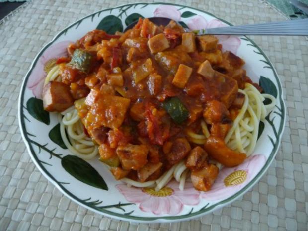 Pfannengerichte : Bunte Pfanne mit Spaghetti - Rezept