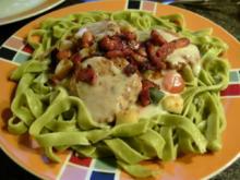 Tagliatelle- spinaci, liebt Kurzgebratenes !  Bunt und Fleischig - Rezept