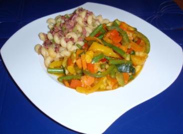 Herbstgemüse mit Schinken-Zwiebel-Nudeln - Rezept