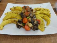 Backofenkürbis mit Bratkäse und Tomaten-Champignons - Rezept