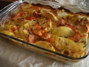 Zitronig-pfeffrige Kürbis-Kartoffelsahnespalten aus dem Backofen - Rezept