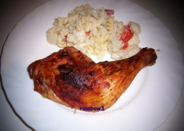 Kochen: Hähnchenschenkel und warmer Nudelsalat - Rezept
