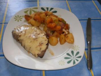Kürbisgemüse zu Käse-Hüftsteaks - Rezept