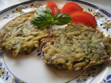 Basilikum-Kartoffelrösti mit Sonnenblumenkernen - Rezept