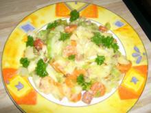 Spitzkohlpfanne mit Käse und Speck - Rezept