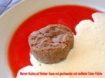 Kastanien-Kuchen auf Himbeer-Spiegel und Créme-Frâiche - Rezept