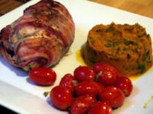 Hähnchenbrust, gefüllt mit Ziegenkäse und frischen Feigen, dazu Kürbispüree - Rezept