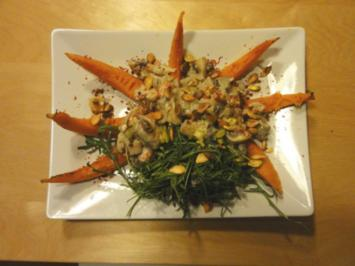 Kürbisspalten mit Gorgonzola-Creme-Champignons - Rezept