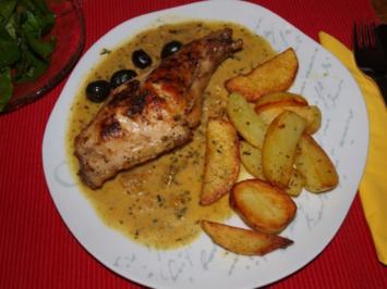 Kaninchenkeulen mit schwarzen Oliven   (Cosciotto di coniglio con olive) - Rezept