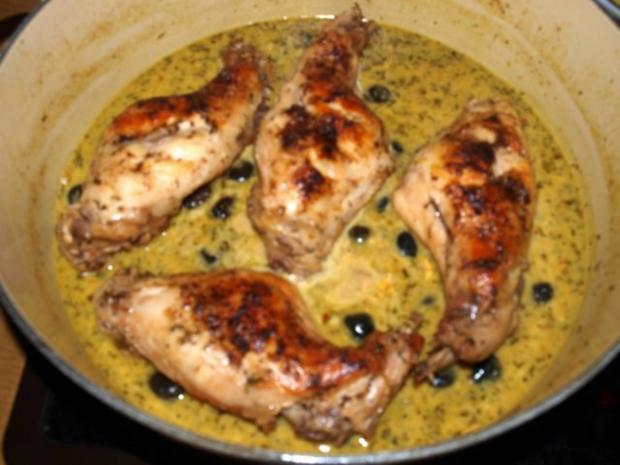Kaninchenkeulen mit schwarzen Oliven   (Cosciotto di coniglio con olive) - Rezept - Bild Nr. 2