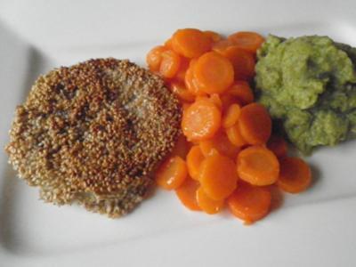 Kohlrabischnitzel an glasierten Möhren und Broccolipüree ... - Rezept