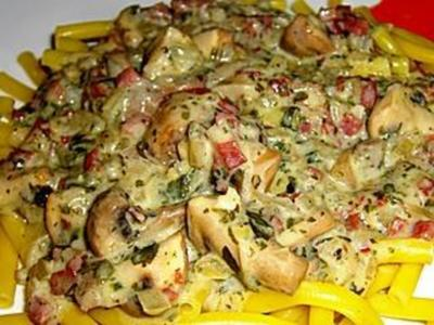 Spaghetti mit Pilzsauce - Rezept