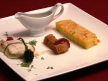 Gefülltes Heilbuttfilet, gratinierte Polenta und frittierte Rote Bete - Rezept