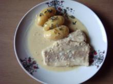 Kabeljaufilet in Senfsoße geschmort mit Kartoffeln - Rezept