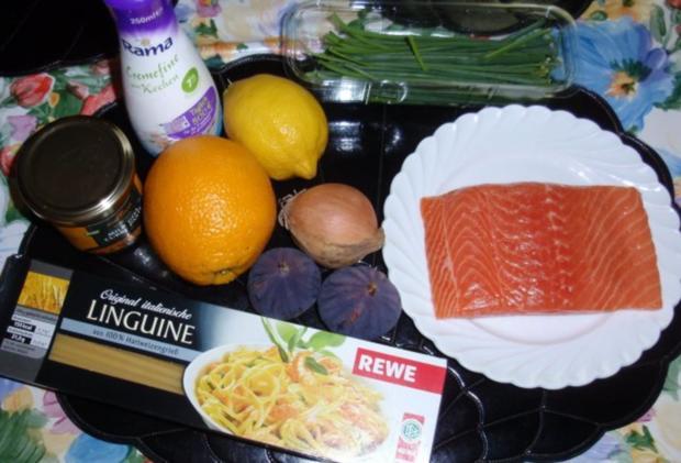 Irischer Lachs mit Linguini und Feigen-Sahnesoße - Rezept - Bild Nr. 2