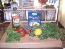 Tabouleh auf Tomaten-Carpaccio mit Lachs - Rezept