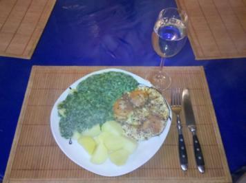 Eier: Mexik. Spiegeleier mit Gorgonzola-Spinat und Salzkartoffeln - Rezept