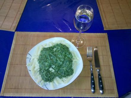 Nudeln: Spiralis mit Gorgonzola-Spinat - Rezept