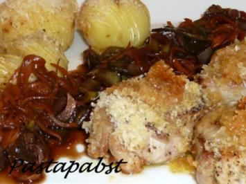 Rezept: Filet mit Fächerkartoffeln und Balsamico-Möhren-Spaghetti
