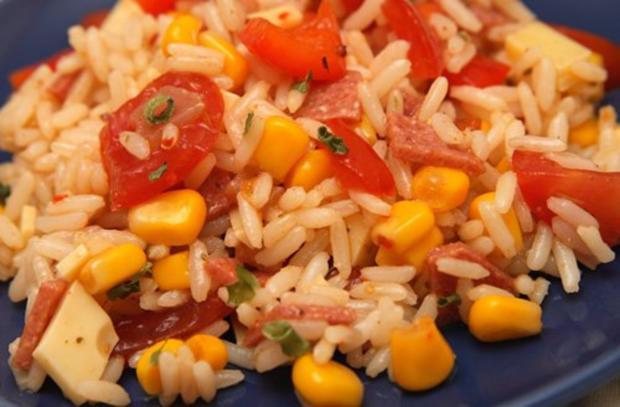 Reis-Mais-Mix-fix-Salat mit Paprika und Schinken ..und so - Rezept