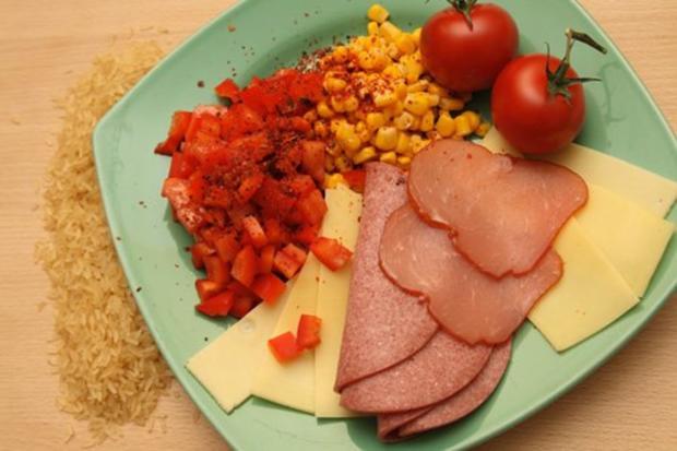 Reis-Mais-Mix-fix-Salat mit Paprika und Schinken ..und so - Rezept - Bild Nr. 2