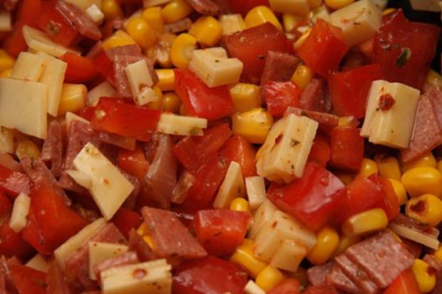 Reis-Mais-Mix-fix-Salat mit Paprika und Schinken ..und so - Rezept - Bild Nr. 3