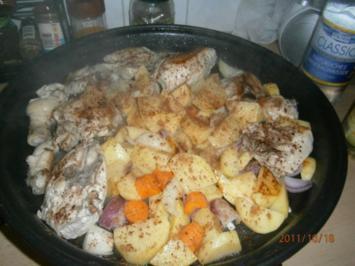 Hähnchen gebraten mit Kartoffeln und Zimt - Rezept