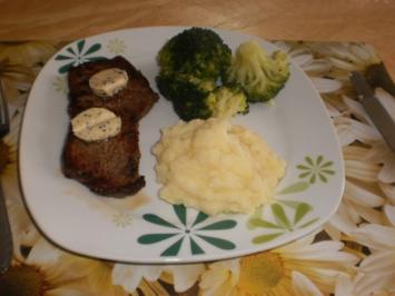 Rumpsteaks - Pfefferbutter - Broccoli - Kartoffelstampf - Rezept