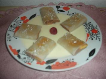 Nougat-Canneloni mit Mango - Rezept