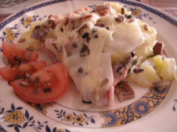 Kohlrabi-Kartoffelauflauf mit Leberkäse - Rezept