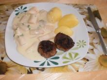 Schwarzwurzel in Käse-Sahnesoße zu Frikadellen mit Salzkartoffeln - Rezept