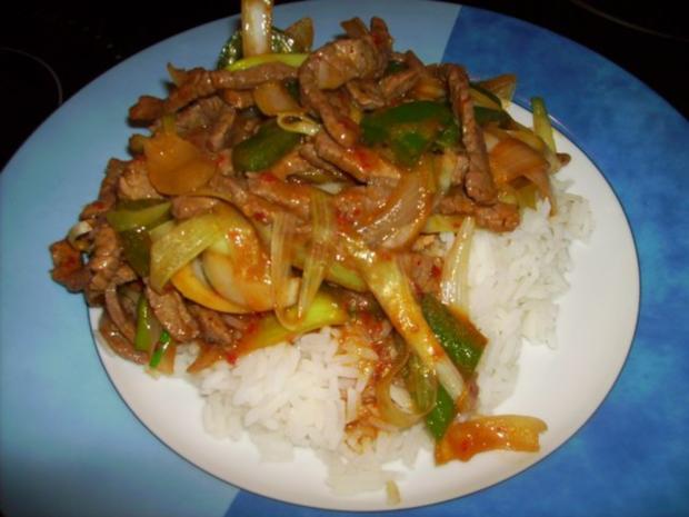 Scharfes Rindfleisch mit Zwiebeln - Rezept