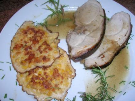 glasierte Spanferkelkeule mit Maisküchlein - Rezept
