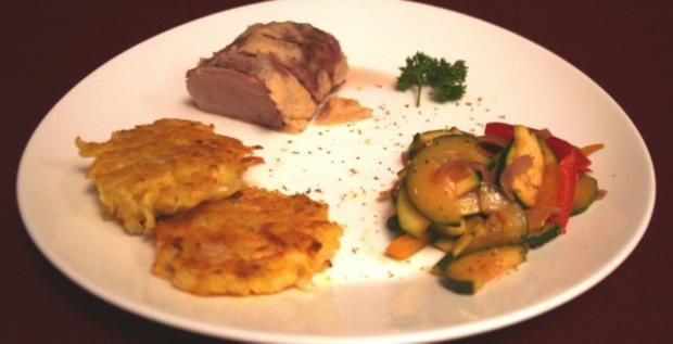 Lende im Parmesanmantel mit Rosmarin-Kartoffel-Plätzchen und Gemüse - Rezept