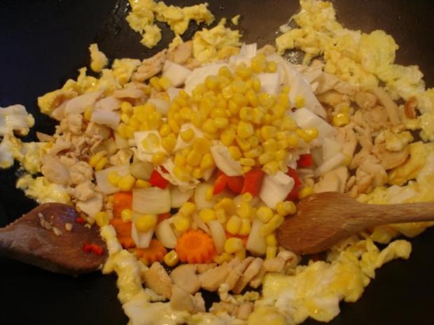Chinesischer Bratreis mit Ei, Hühnerfleisch und Gemüse - Rezept - Bild Nr. 8