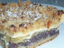 Apfel-Blechkuchen mit Pudding und Mohn - Rezept