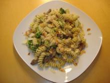 Fusilli mit Broccoli-Mandel Soße und Rinderfiletstreifen - Rezept