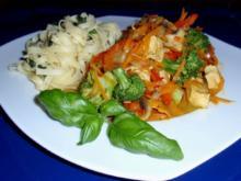 Scharfes buntes Curryhähnchen mit Fettucine - Rezept
